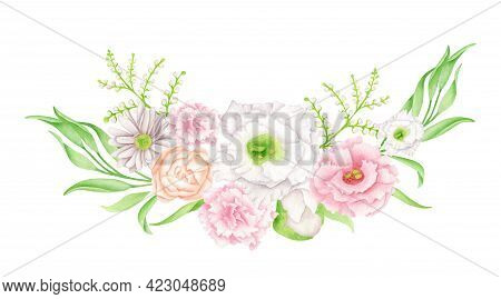 Watercolor Floral Wreath. Hand Drawn Flower Bouquet Isolated On White Background. Botanical Arrangem
