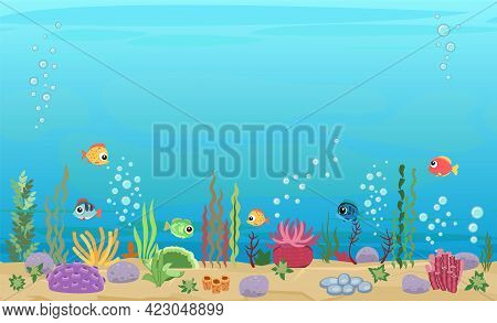 Bottom Of Reservoir With Fish. Blue Water. Sea Ocean. Underwater Landscape With Animals. Plants, Alg