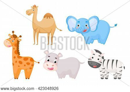 Set Of African Animals In Cartoon Style. Cute Animals Characters For Kids Cards, Baby Shower, Birthd