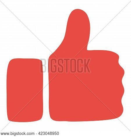 Social Network Red Thumb Up Icon. Cartoon Of Social Network Red Thumb Up Vector Icon For Web Design