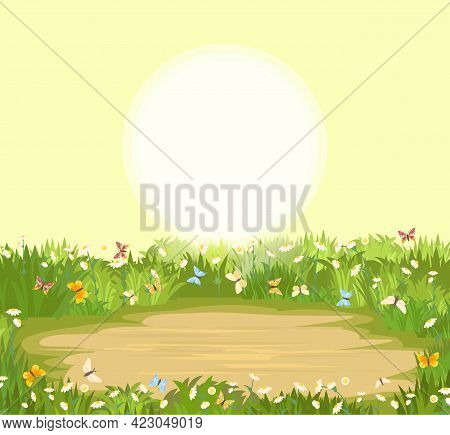 Glade. Place In A Meadow With Wildflowers. Grass Close-up. Beautiful Green Rural Landscape. Cartoon