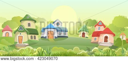 Village Of Gnomes. Fabulous Town With Cute Little Houses. Beautiful Cartoon Green Landscape. Meadow