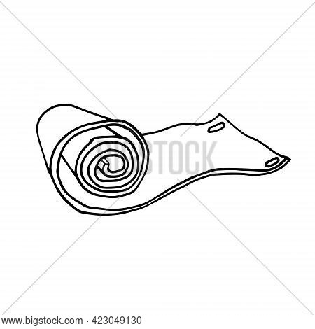 Hand-drawn Roll Of Yoga Mat, Camping Mat. Doodle Roll Film On White Background Isolated.