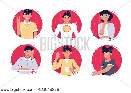 Circle Avatars Of Different Persons Vector Illustration. Bundle Of Smiling Colleagues With Various E