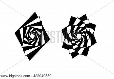 Striped Graphic Shapes Cubes Swirling In Loop. Vector Abstract Shapes. Vortex With Lines.