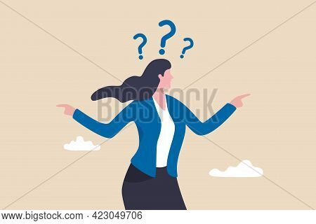Business Doubt Choice, Make Decision On Work Direction, Choose Career Path Or Option Or Alternative