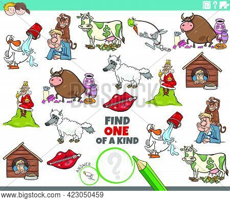 Cartoon Illustration Of Find One Of A Kind Picture Educational Task For Children With Comic Characte
