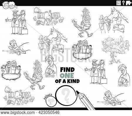 Black And White Cartoon Illustration Of Find One Of A Kind Picture Educational Game For Children Wit