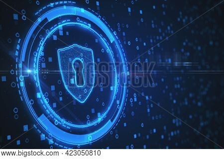 Creative Glowing Shield With Lock On Blue Background. Antivirus And Protection Concept. 3d Rendering