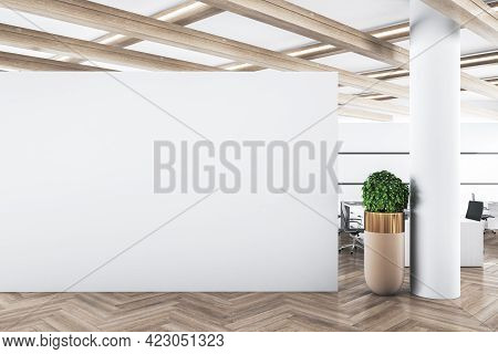 Modern Concrete Office Interior With Mockup Wall And Wooden Floor. Advertisement Concept. 3d Renderi