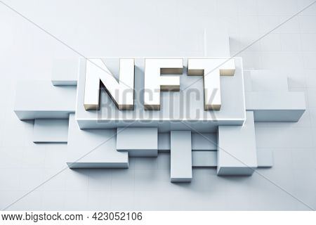 Nft Nonfungible Tokens Concept - Nft Word In Light Frame On Abstract Technology Background. 3d Rende