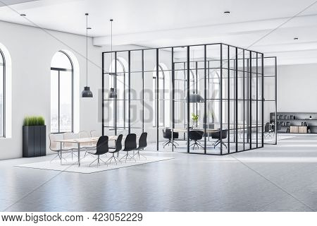Sunny Huge Stylish Open Space Office With Arched Windows, White Walls, Grey Floor And Conference Roo