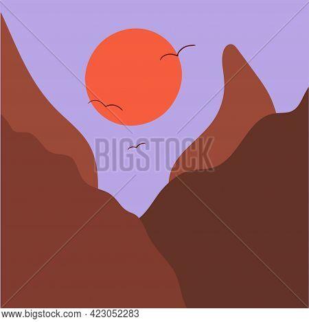 Minimalist Mountain Landscape And Sunset. Abstract Scandinavian Design, Vector Flat Illustration