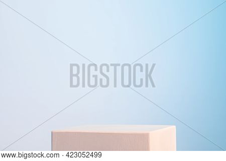 White Gypsum Cubic Podium In Pastel Neon Light