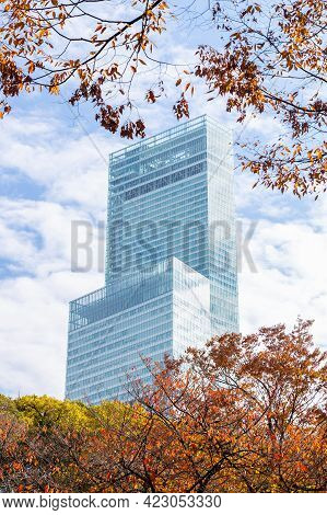 Osaka, Japan - November 24, 2018 : Abeno Harukas 300, The Tallest Skyscraper In Japan With Cloudy Bl