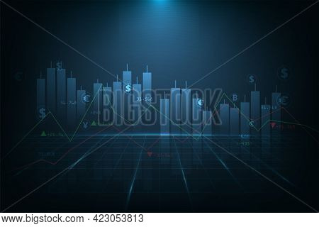 Concept Of Trading And Investment.financial Stock Market Graph And Investment  On Dark Blue Backgrou