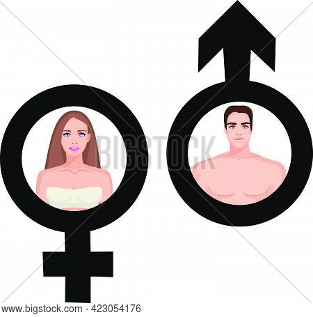 Male And Female Portrait In Male And Female Symbol.