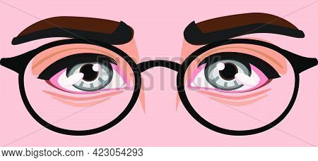 Men's Eyes With Glasses.