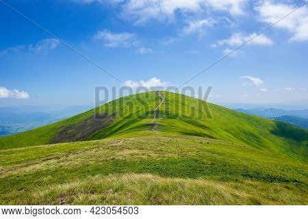 Grassy Hills And Meadows Of Borzhava Mountain Ridge. Wonderful Summer Landscape At High Noon. High C