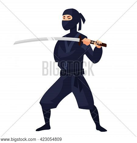Ninja In Attacking Position. Japan Character In Cartoon Style.