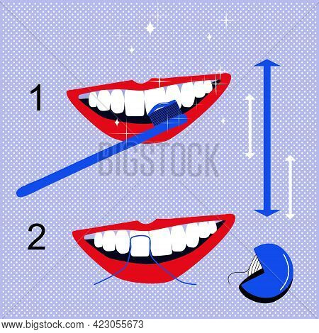 How Brushing Your Teeth Correctly Instruction.dental Floss For Cleaning.oral Cavity Daily Life Hygie