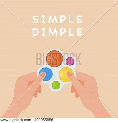 Square Banner With Adult Hands Holding Simple Dimple Fidget. Pop It Toy. Popular Trend To Push Bubbl