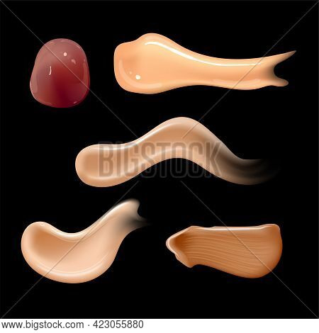 Set Of Realistic Cosmetic Cream Smears. Skin Toner Of Different Body Colors. Lotion Smooth Smear Iso