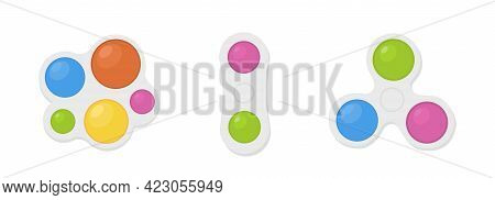 Simple Dimple. Isolated Antistress Toys. Fidget Sensory Toy Pop It. Colorful Silicone Bubbles. Trend