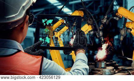 Smart Industry Robot Arms Modernization For Innovative Factory Technology . Concept Of Automation Ma