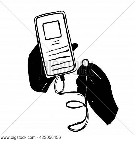 Doodle Tablet And Phone. Smartphone With Headphones In Hands. Headphones Are Connected To The Phone.