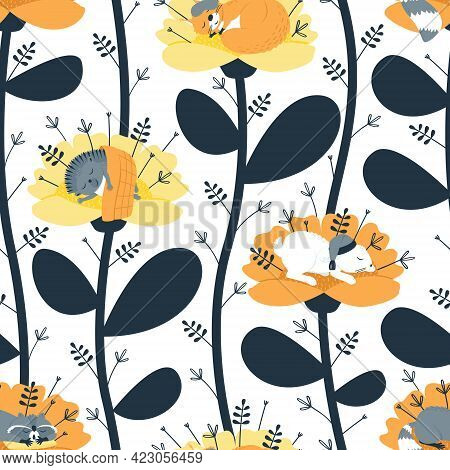 Seamless Pattern With Sleeping Animals. Raccoon On The Pillow. Squirrel In A Sleep Mask. Hare In A N