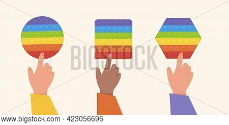 Vector Set Of Popular Pop It Fidgets. Kids Playing With Rainbow Colored Antistress Toys. Hands With