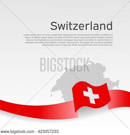 Switzerland Flag, Mosaic Map On White Background. Vector Banner Design, Switzerland National Poster.