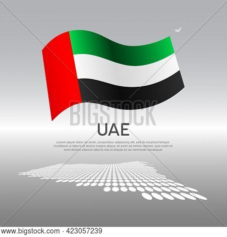 United Arab Emirates Wavy Flag And Mosaic Map On Light Background. Creative Background For Uae Natio