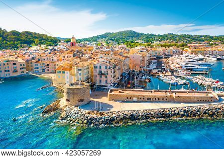 View Of The City Of Saint-tropez, Provence, Cote D Azur, A Popular Destination For Travel In Europe