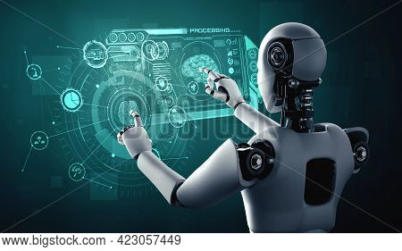 Ai Humanoid Robot Touching Virtual Hologram Screen Showing Concept Of Ai Brain And Artificial Intell