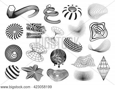 Collection Monochrome Digital Abstract Shapes Waveform, Diagram, Round And Geometric Energy Swirl