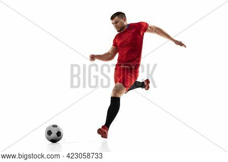 Powerful, Flying Above The Field. Young Football, Soccer Player In Action, Motion Isolated On White