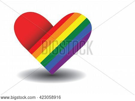 Lgbt Heart With Rainbow. Symbol Of Lgbt Community. Concept Of Lgbt, Equality And Diversity.