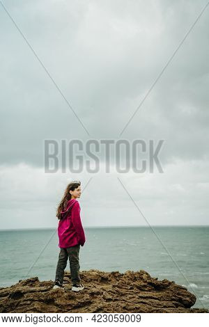 young girl on a hiking trek