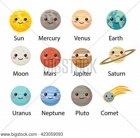 Planet Solar System Icons Flat Style. Planets Collection With Sun, Mercury, Mars, Earth, Uranium, Ne