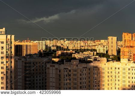 Panoramic View Of The South-east Of Moscow, Russia. Panoramic View Of The Sleeping Areas Of Moscow.