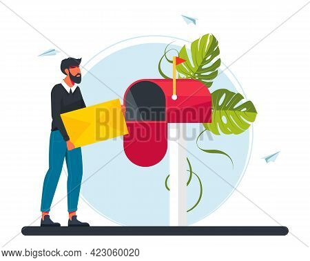 Man Carries A Letter In The Mailbox. Email Concept Illustration, Subscribe To Newsletters, Email Mar