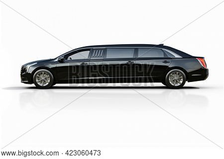 3d render of luxury limousine on white background