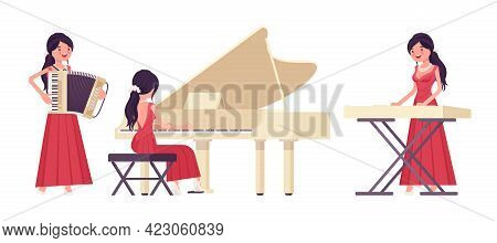 Musician, Elegant Evening Dress Woman Playing Professional Keyboard Instruments. Classical Music Eve
