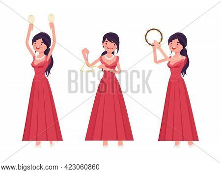 Musician, Elegant Evening Dress Woman Playing Professional Percussion Instruments. Classical Music E