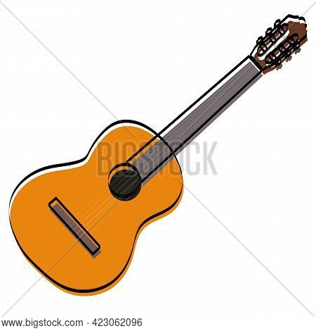 Vector Illustration. Classic Wooden Painted Guitar.vector Illustration. Classic Wooden Painted Guita