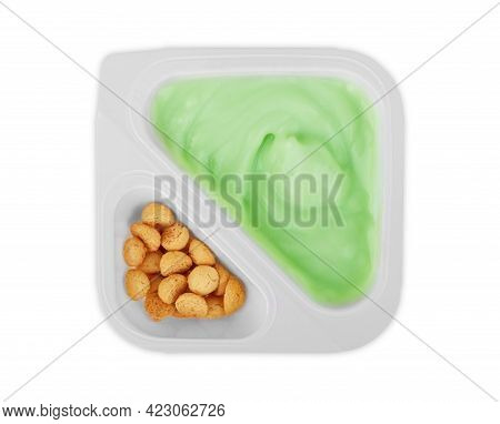 Yogurt With Pistachios And Mint Sprigs In A White Bowl On The Table. Healthy Breakfast: Yogurt With