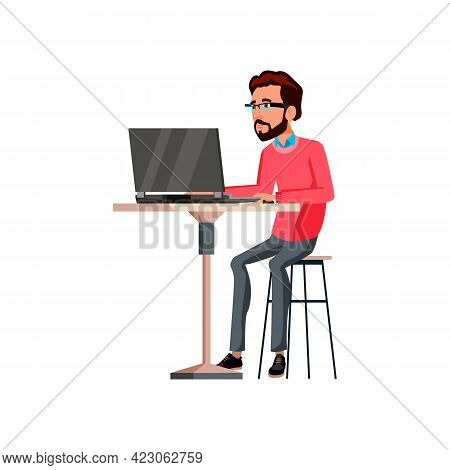 Intelligence Young Man Working On Notebook In Internet Cafe Cartoon Vector. Intelligence Young Man W