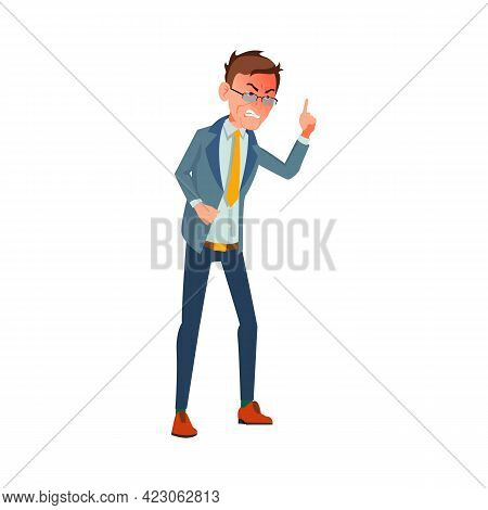 Aggressive Man Screaming At Colleague In Conference Room Cartoon Vector. Aggressive Man Screaming At